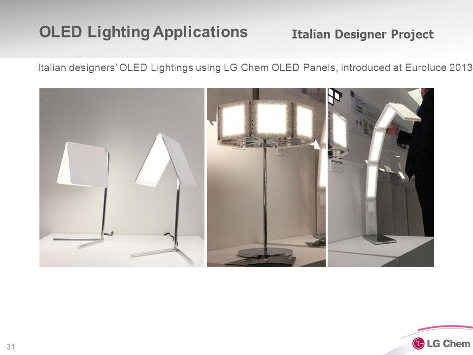 31 Italian Designer Project Italian designers' OLED Lightings using LG Chem OLED Panels, introduced at Euroluce 2013 OLED Lighting Applications