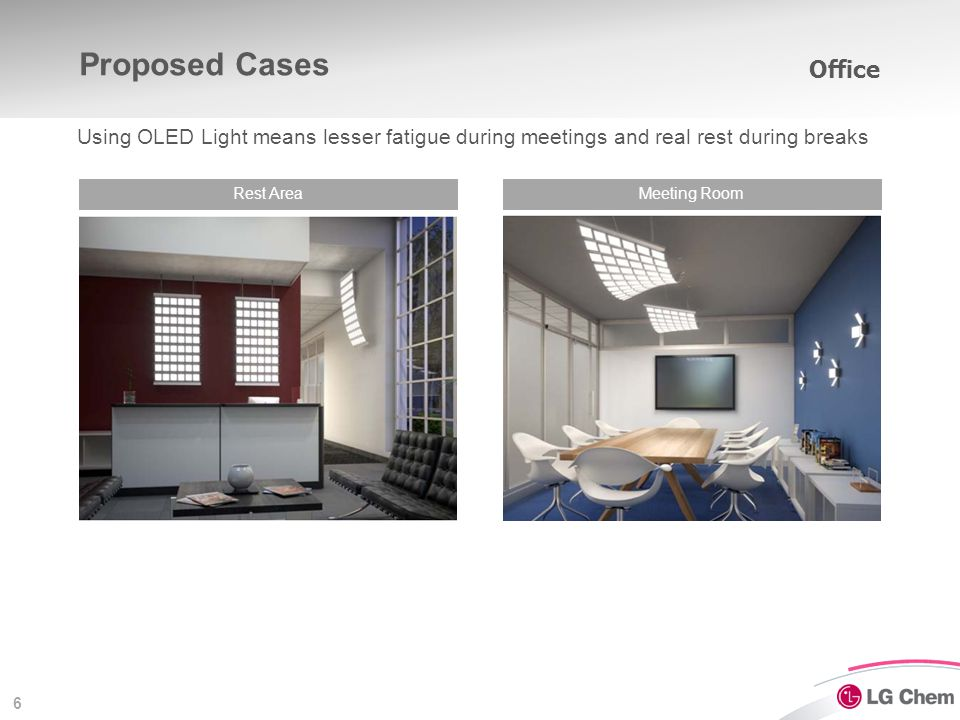 6 Proposed Cases Rest AreaMeeting Room Office Using OLED Light means lesser fatigue during meetings and real rest during breaks