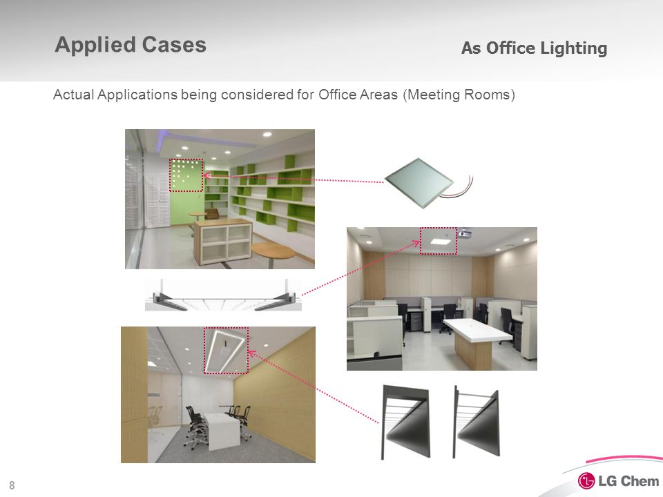 8 As Office Lighting Actual Applications being considered for Office Areas (Meeting Rooms) Applied Cases