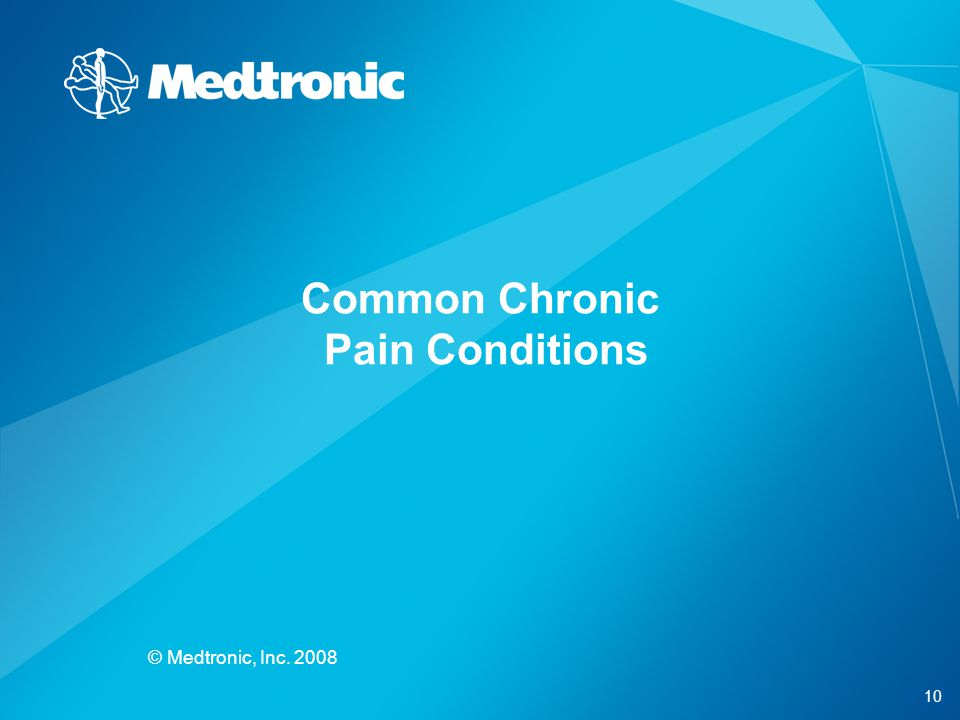 10 © Medtronic, Inc. 2008 Common Chronic Pain Conditions