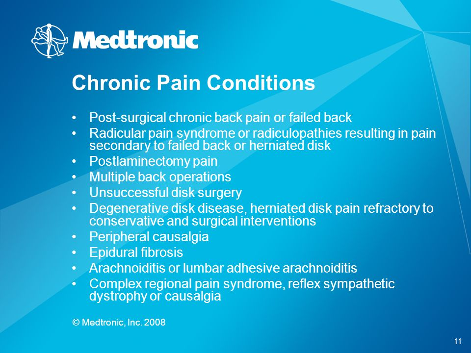 11 © Medtronic, Inc. 2008 Chronic Pain Conditions Post-surgical chronic back pain or failed back Radicular pain syndrome or radiculopathies resulting
