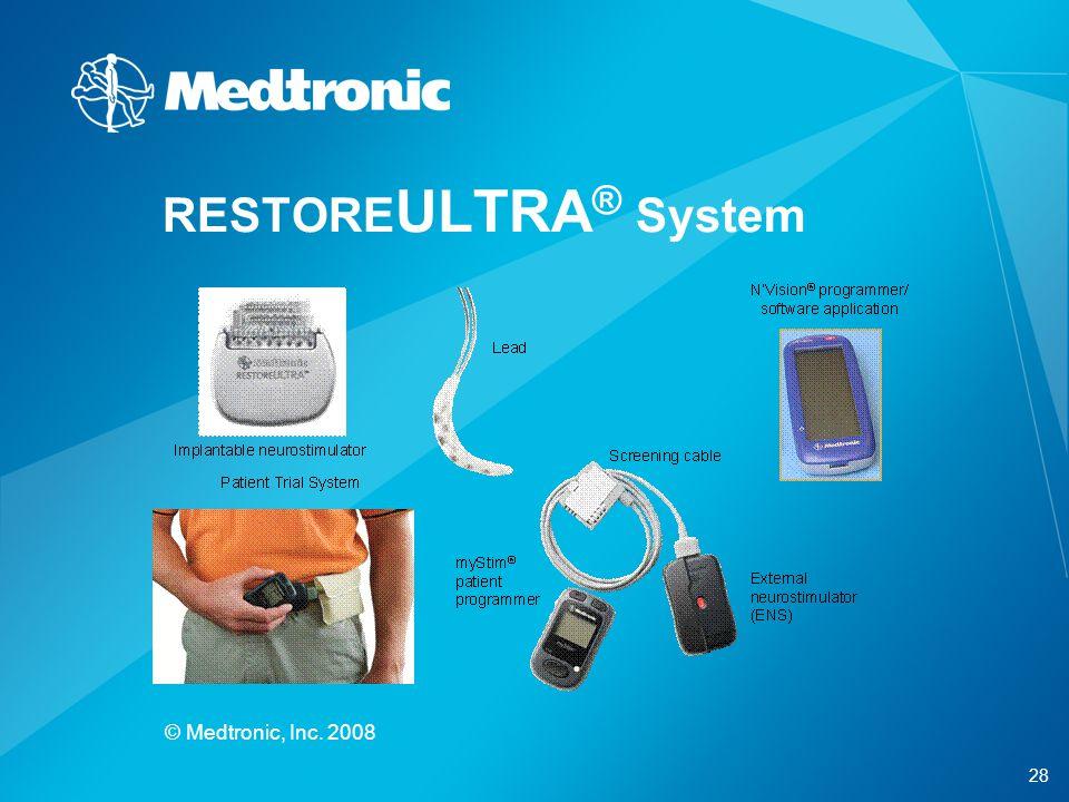 28 © Medtronic, Inc. 2008 RESTORE ULTRA ® System