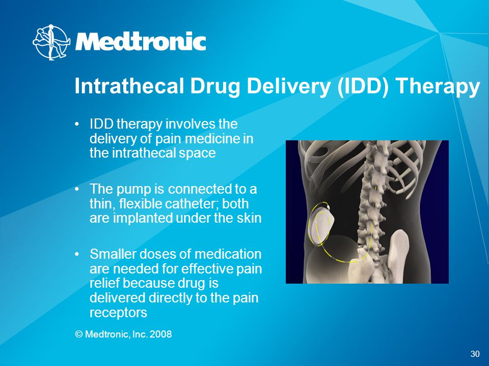 30 © Medtronic, Inc. 2008 IDD therapy involves the delivery of pain medicine in the intrathecal space The pump is connected to a thin, flexible cathet