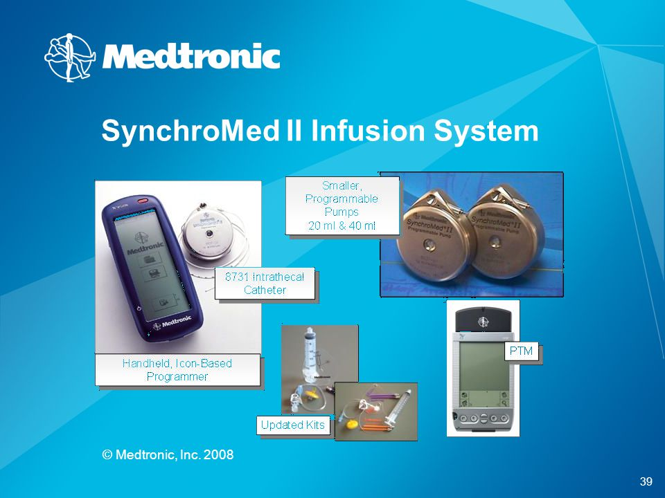 39 © Medtronic, Inc. 2008 SynchroMed II Infusion System