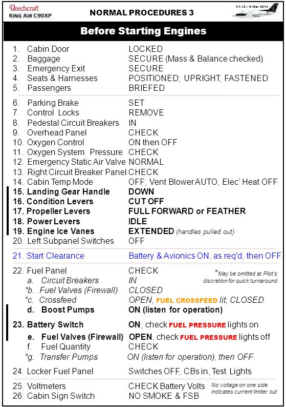 V1.12 – 9 Mar 2014 NORMAL PROCEDURES 3 1. Cabin Door LOCKED 2.Baggage SECURE (Mass & Balance checked) 3.Emergency Exit SECURE 4.Seats & HarnessesPOSIT