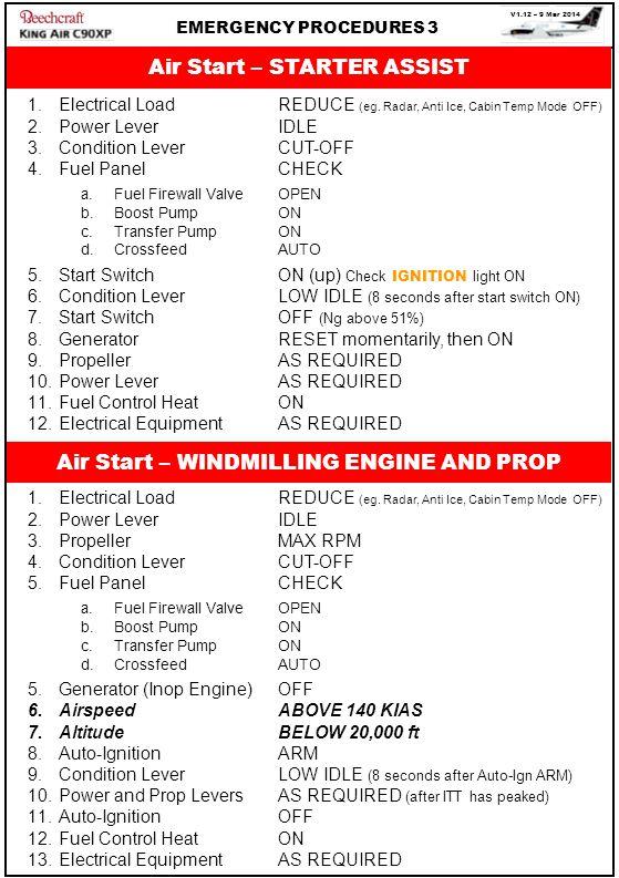 V1.12 – 9 Mar 2014 EMERGENCY PROCEDURES 3 Air Start – STARTER ASSIST 1.Electrical LoadREDUCE (eg. Radar, Anti Ice, Cabin Temp Mode OFF) 2.Power LeverI
