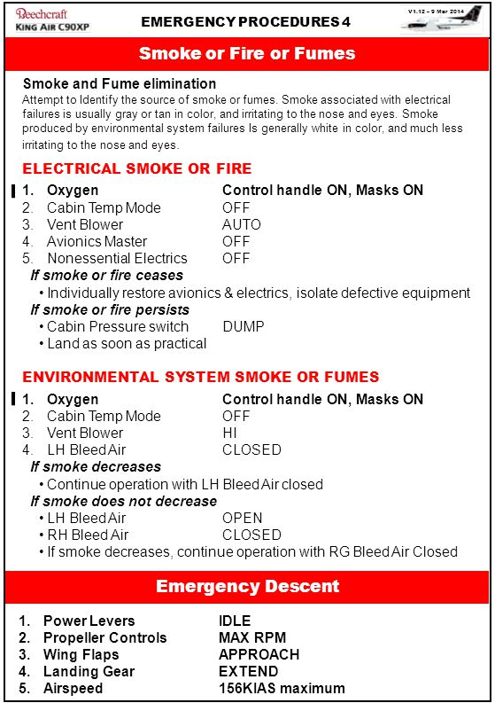 V1.12 – 9 Mar 2014 EMERGENCY PROCEDURES 4 Smoke or Fire or Fumes Smoke and Fume elimination Attempt to Identify the source of smoke or fumes.