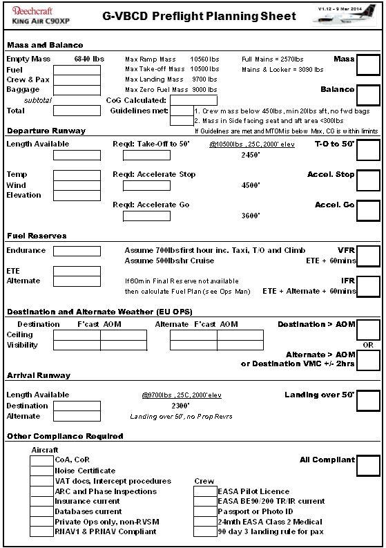 V1.12 – 9 Mar 2014 G-VBCD Preflight Planning Sheet
