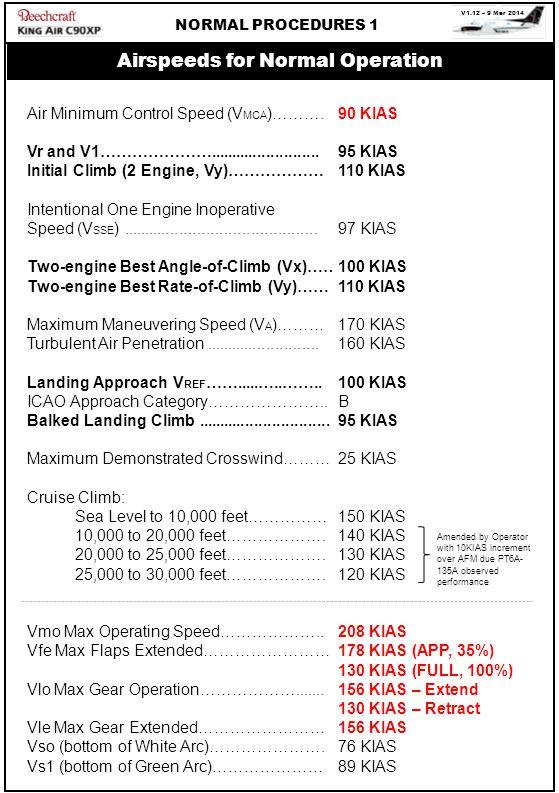 V1.12 – 9 Mar 2014 NORMAL PROCEDURES 1 Air Minimum Control Speed (V MCA )………. Vr and V1…………………......................... Initial Climb (2 Engine, Vy)……