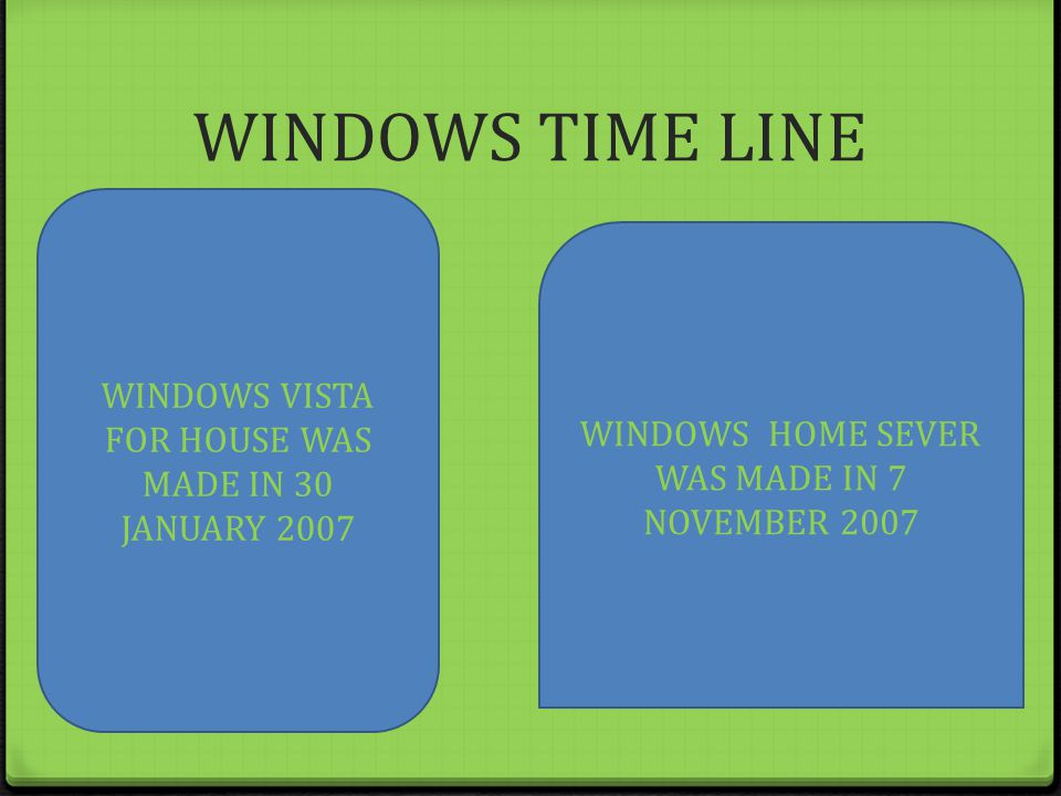 WINDOWS TIME LINE WINDOWS VISTA FOR HOUSE WAS MADE IN 30 JANUARY 2007 WINDOWS HOME SEVER WAS MADE IN 7 NOVEMBER 2007