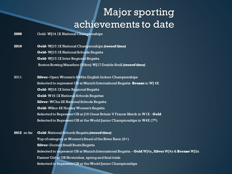 Major sporting achievements to date 2009Gold- WJ14 1X National Championships 2010Gold- WJ15 1X National Championships (record time) Gold- WJ15 1X National Schools Regatta Gold- WJ15 1X Inter Regional Regatta Boston Rowing Marathon (50km) WJ17 Double Scull (record time) 2011Silver- Open Women s 2000m English Indoor Championships Selected to represent GB at Munich International Regatta- Bronze in WJ 4X Gold- WJ16 1X Inter Regional Regatta Gold- W16 1X National Schools Regattas Silver- WCha 2X National Schools Regatta Gold- WSen 4X Henley Women s Regatta Selected to Represent GB at J16 Great Britain V France Match in W1X - Gold Selected to Represent GB at the World Junior Championships in W4X (7 th ) 2012 so far Gold- National Schools Regatta (record time) Top of category at Women s Head of the River Race (8+) Silver- Dorney Small Boats Regatta Selected to represent GB at Munich International Regatta – Gold WJ4x, Silver WJ4x & Bronze WJ2x Fastest Girl at GB November, spring and final trials Selected to Represent GB at the World Junior Championships