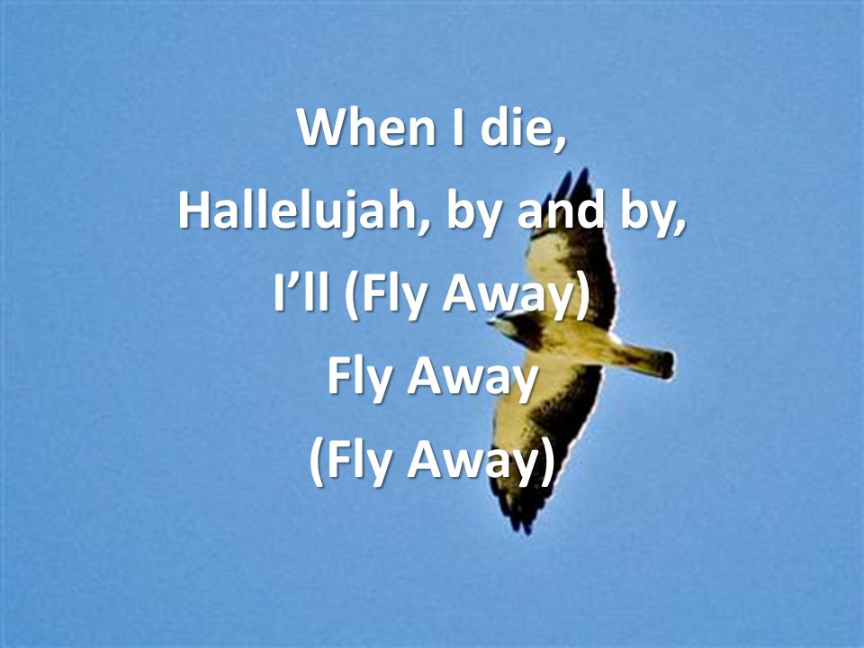 When I die, Hallelujah, by and by, I'll (Fly Away) Fly Away (Fly Away)