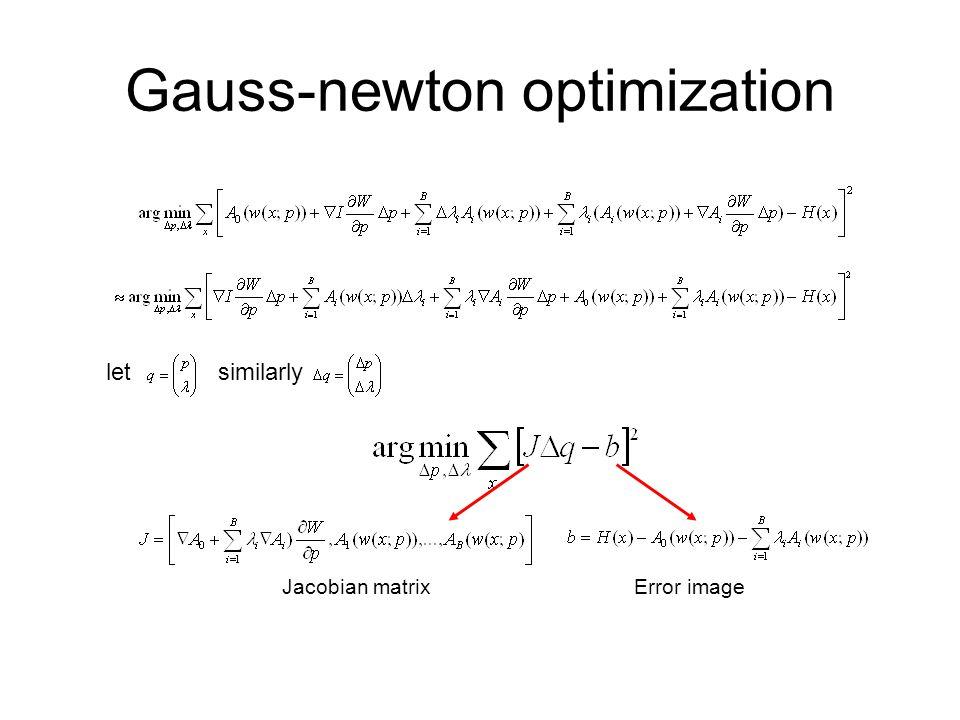 Gauss-newton optimization letsimilarly Jacobian matrixError image
