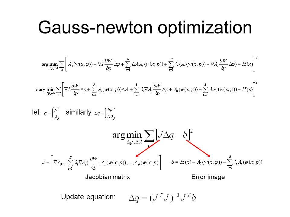 Gauss-newton optimization letsimilarly Jacobian matrixError image Update equation: