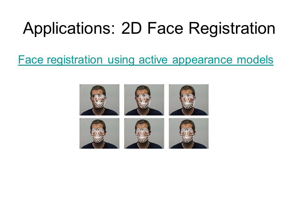Applications: 2D Face Registration Face registration using active appearance models