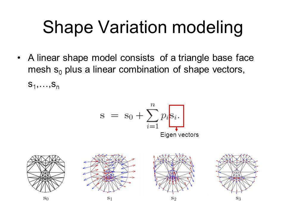 Shape Variation modeling A linear shape model consists of a triangle base face mesh s 0 plus a linear combination of shape vectors, s 1,…,s n Eigen ve