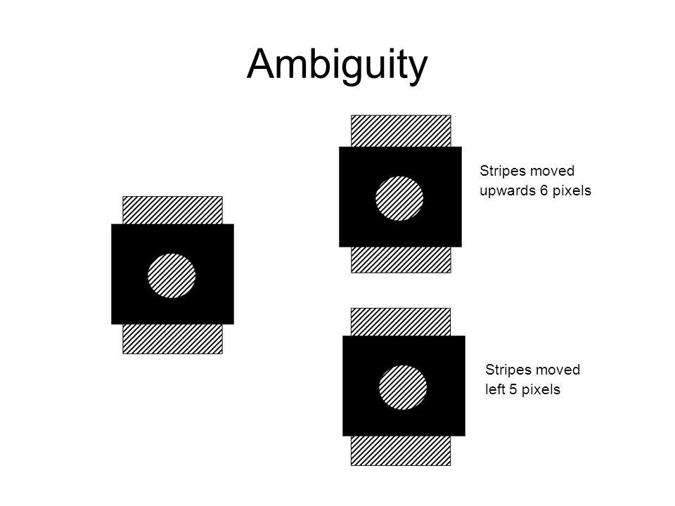 Stripes moved upwards 6 pixels Stripes moved left 5 pixels