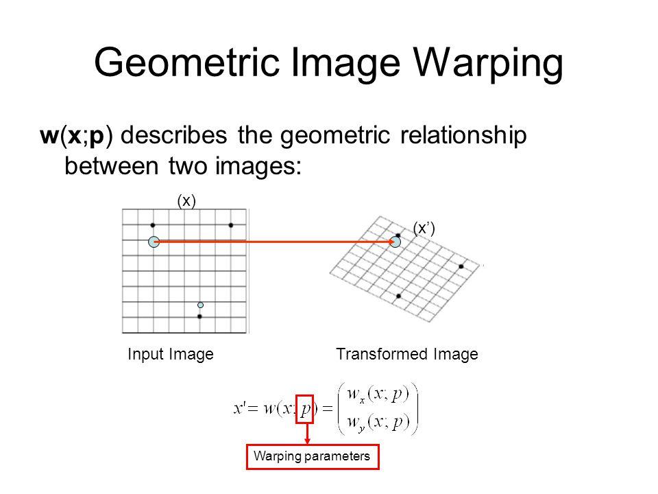 Geometric Image Warping w(x;p) describes the geometric relationship between two images: Transformed ImageInput Image (x') (x) Warping parameters