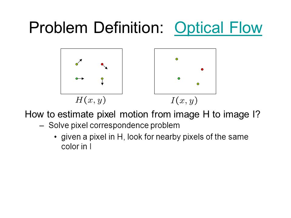 Problem Definition: Optical FlowOptical Flow How to estimate pixel motion from image H to image I? –Solve pixel correspondence problem given a pixel i