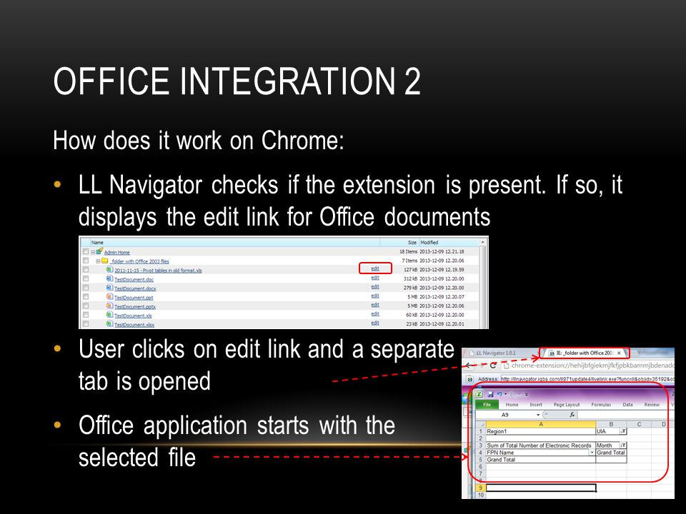 OFFICE INTEGRATION 2 How does it work on Chrome: LL Navigator checks if the extension is present.