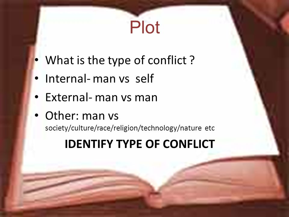 Plot What is the type of conflict ? Internal- man vs self External- man vs man Other: man vs society/culture/race/religion/technology/nature etc IDENT