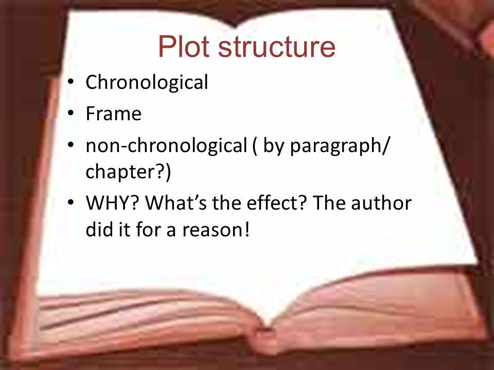 Plot structure Chronological Frame non-chronological ( by paragraph/ chapter ) WHY.