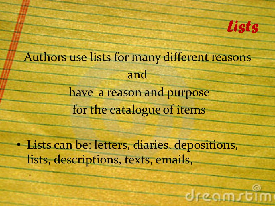 Lists The miscellaneousness of a list is not random, but has meaning.