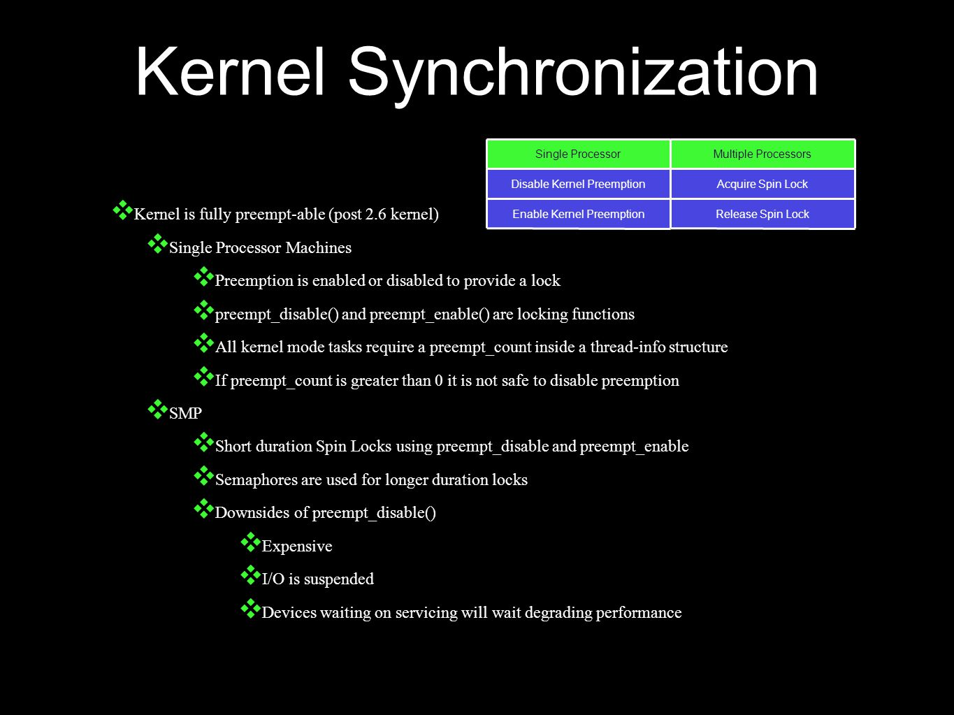 Kernel Synchronization ❖ Kernel is fully preempt-able (post 2.6 kernel) ❖ Single Processor Machines ❖ Preemption is enabled or disabled to provide a lock ❖ preempt_disable() and preempt_enable() are locking functions ❖ All kernel mode tasks require a preempt_count inside a thread-info structure ❖ If preempt_count is greater than 0 it is not safe to disable preemption ❖ SMP ❖ Short duration Spin Locks using preempt_disable and preempt_enable ❖ Semaphores are used for longer duration locks ❖ Downsides of preempt_disable() ❖ Expensive ❖ I/O is suspended ❖ Devices waiting on servicing will wait degrading performance Single ProcessorMultiple Processors Disable Kernel PreemptionAcquire Spin Lock Enable Kernel PreemptionRelease Spin Lock