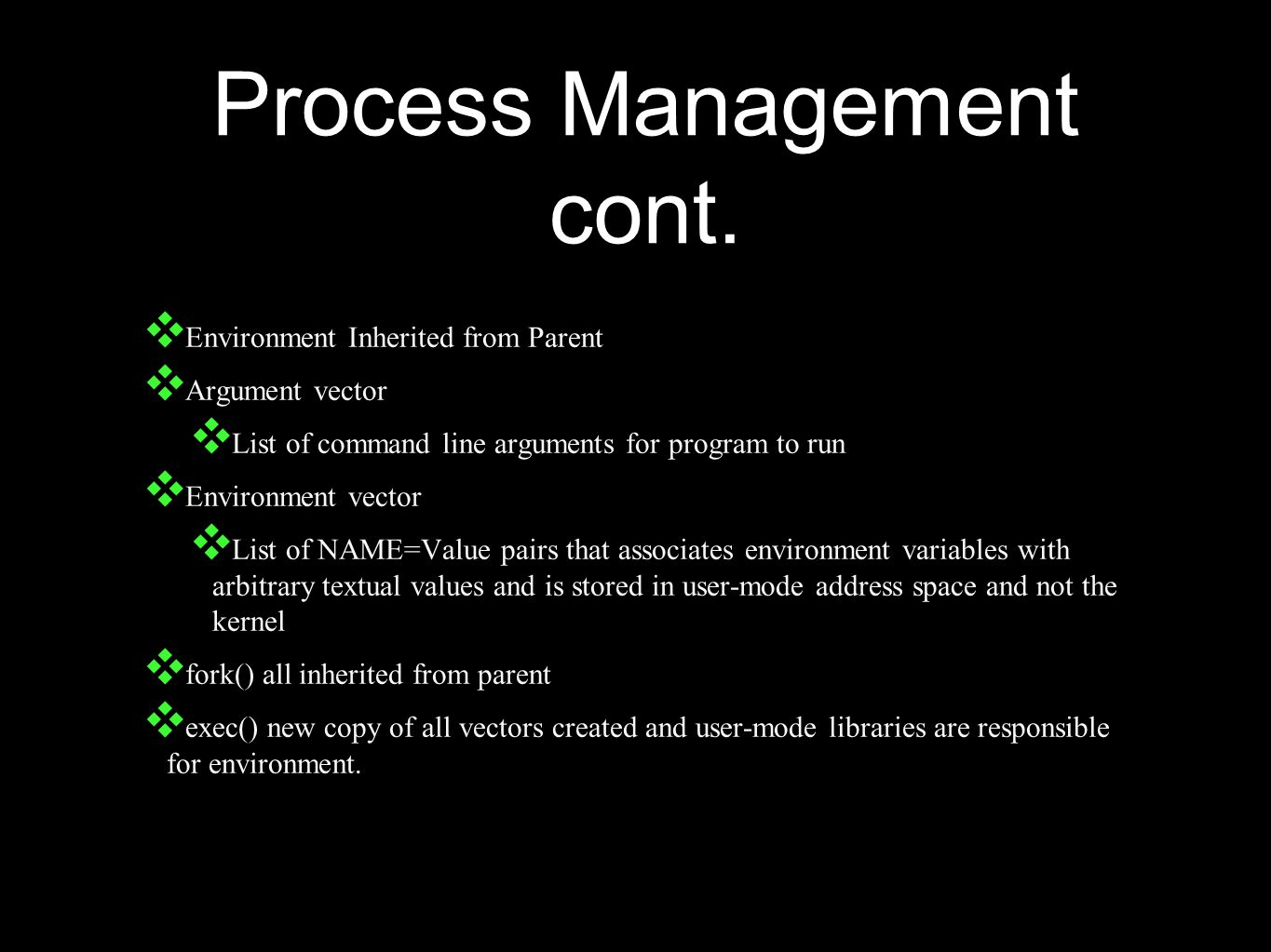 Process Management cont.