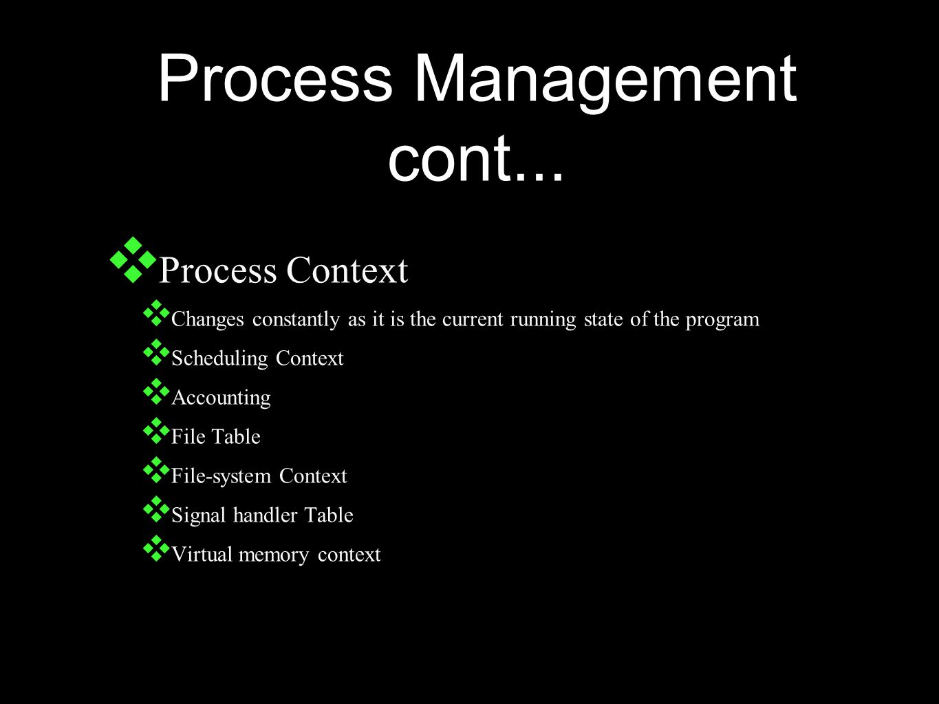 Process Management cont...