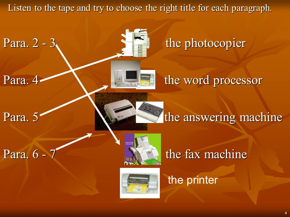 3 Make out the following pieces of office equipment The telephone The photocopier The typewriter The fax machine The computerThe printer The answering machine The word processor