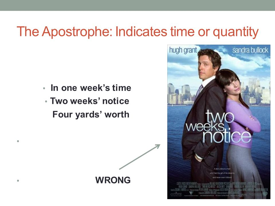 The Apostrophe: Indicates time or quantity In one week's time Two weeks' notice Four yards' worth WRONG