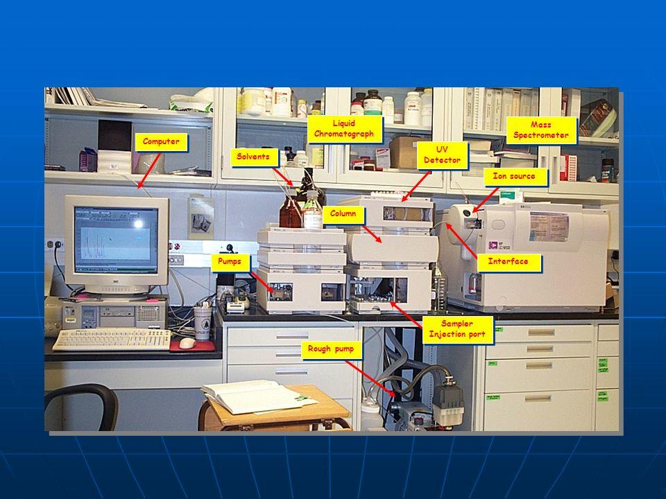 Mass Spectrometer Mass Spectrometer Liquid Chromatograph Liquid Chromatograph Rough pump UV Detector UV Detector Sampler Injection port Sampler Inject