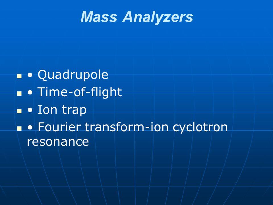 Mass Analyzers Quadrupole Time-of-flight Ion trap Fourier transform-ion cyclotron resonance