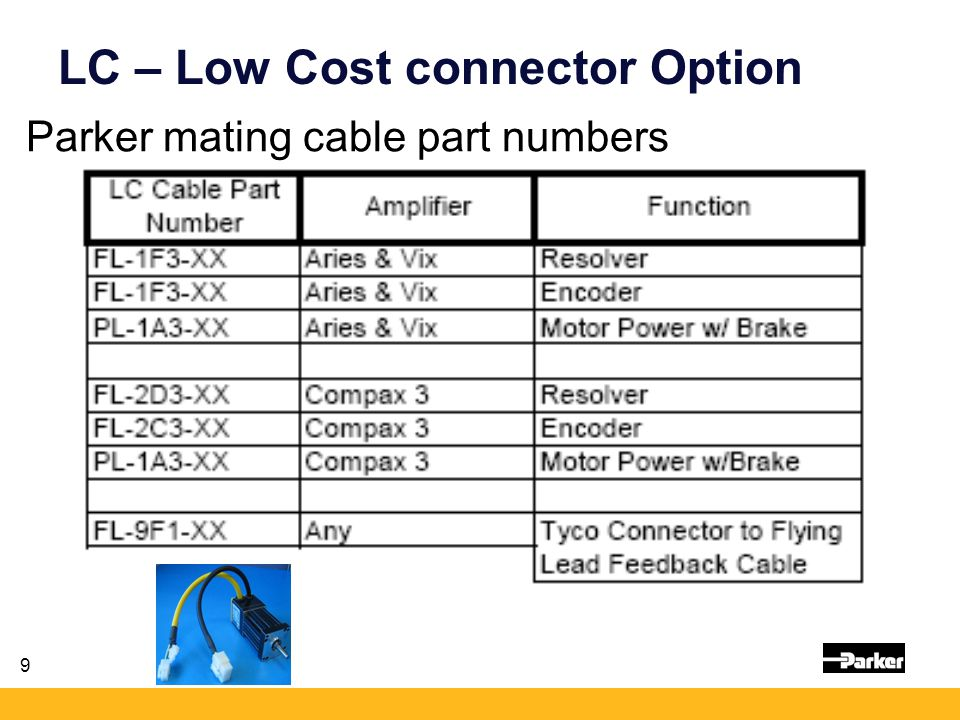 10 LC – Low Cost connector Option When using LC with an Aries drive: (or any drive to have ideal noise isolation and immunity)… Must have 360 degree shielding P-clip is included with motor and feedback cables.
