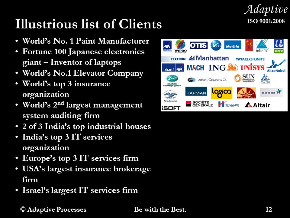 Adaptive ISO 9001:2008 Illustrious list of Clients World's No. 1 Paint Manufacturer Fortune 100 Japanese electronics giant – Inventor of laptops World