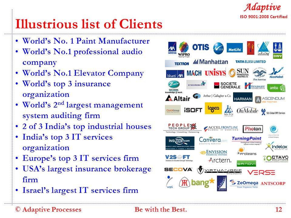 Quality Consulting Illustrious list of Clients World's No.