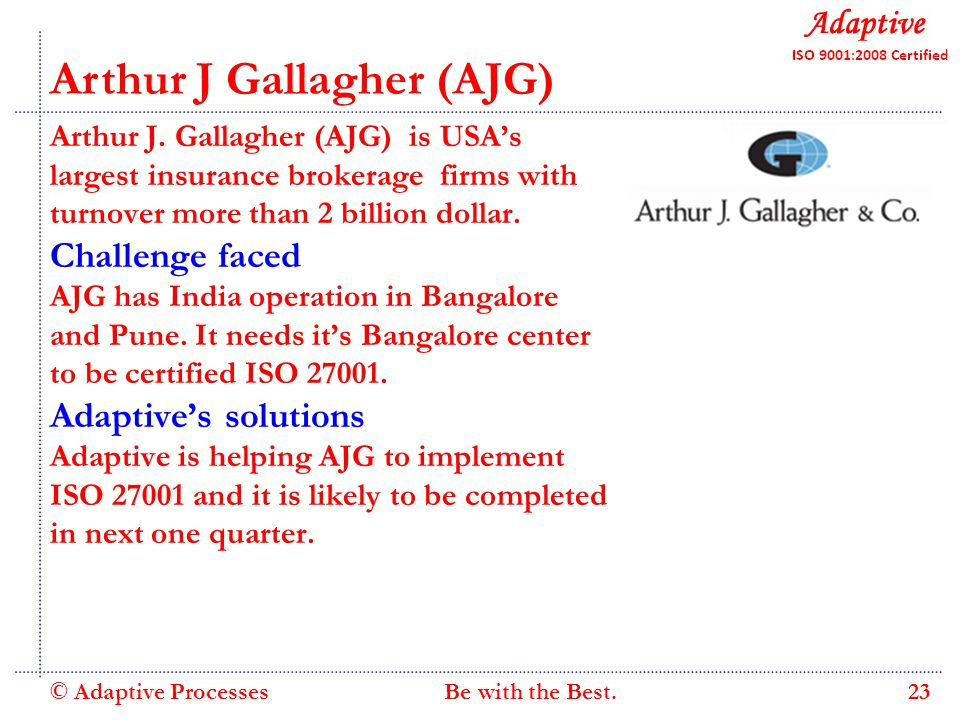 Quality Consulting Arthur J Gallagher (AJG) Arthur J.