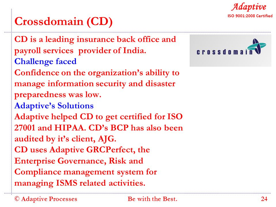 Quality Consulting Crossdomain (CD) CD is a leading insurance back office and payroll services provider of India.