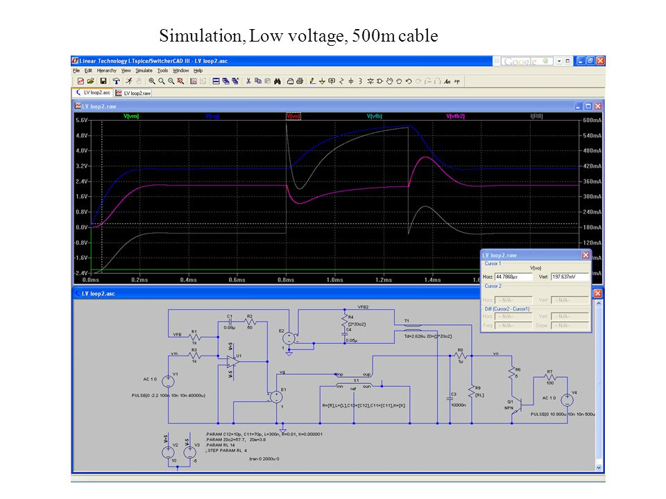 Simulation, Low voltage, 500m cable
