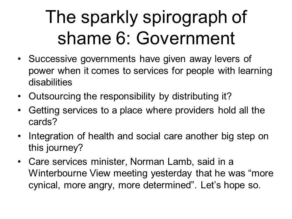 The sparkly spirograph of shame 6: Government Successive governments have given away levers of power when it comes to services for people with learning disabilities Outsourcing the responsibility by distributing it.