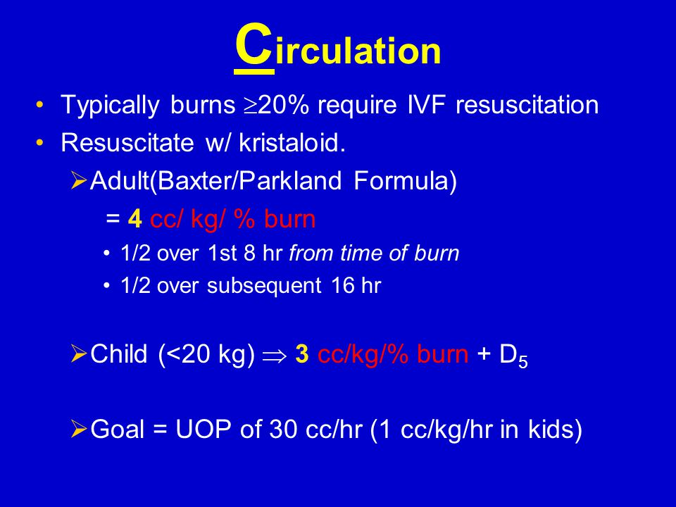 C alculate burn size (%) Burn depth  Superficial  Partial-thickness (PT)  Full-thickness (FT)  Indeterminate Only partial-thickness (2 nd degree), indeterminate, & full-thickness (≥3 rd degree) injuries: count towards %TBSA