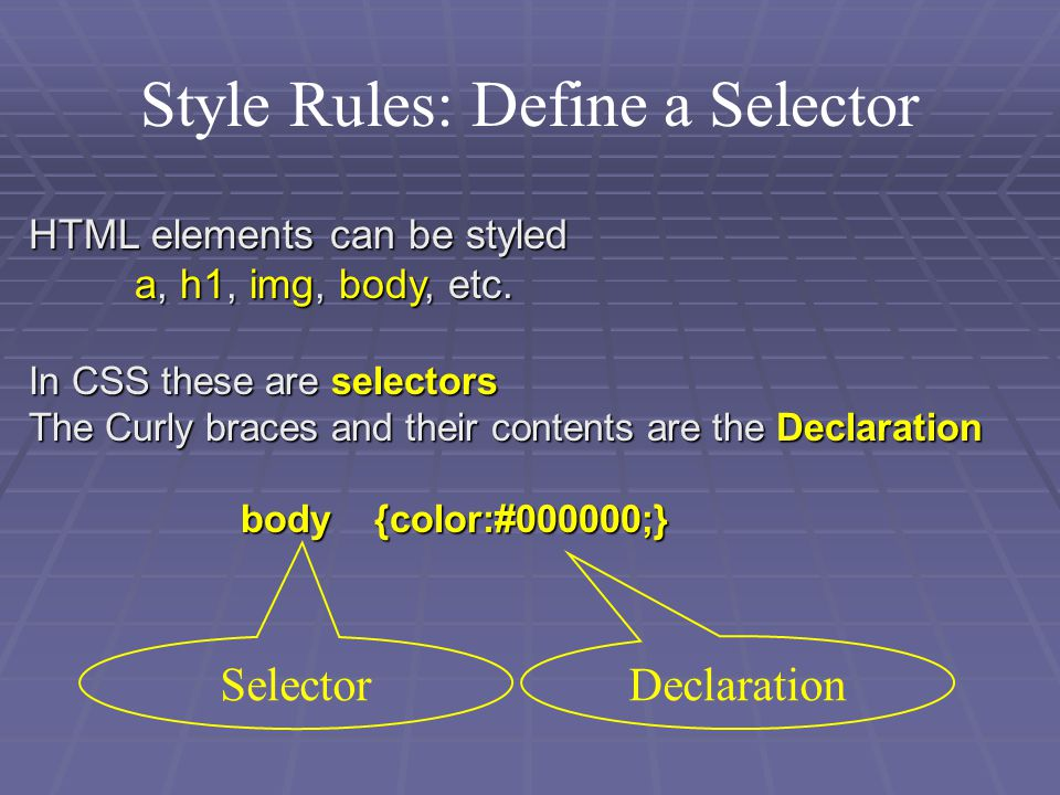 Style Rules: Define a Selector HTML elements can be styled a, h1, img, body, etc.