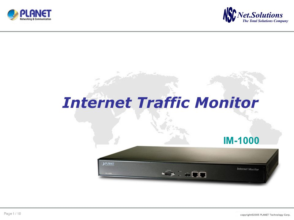 Page 1 / 18 Internet Traffic Monitor IM-1000