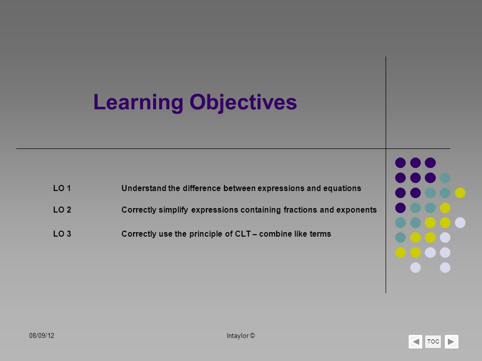 Learning Objectives LO 1Understand the difference between expressions and equations TOC LO 2Correctly simplify expressions containing fractions and ex