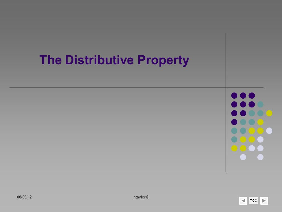 The Distributive Property TOC 08/09/12lntaylor ©