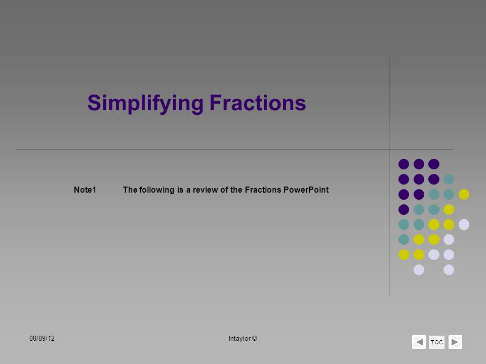 Simplifying Fractions Note1The following is a review of the Fractions PowerPoint TOC 08/09/12lntaylor ©