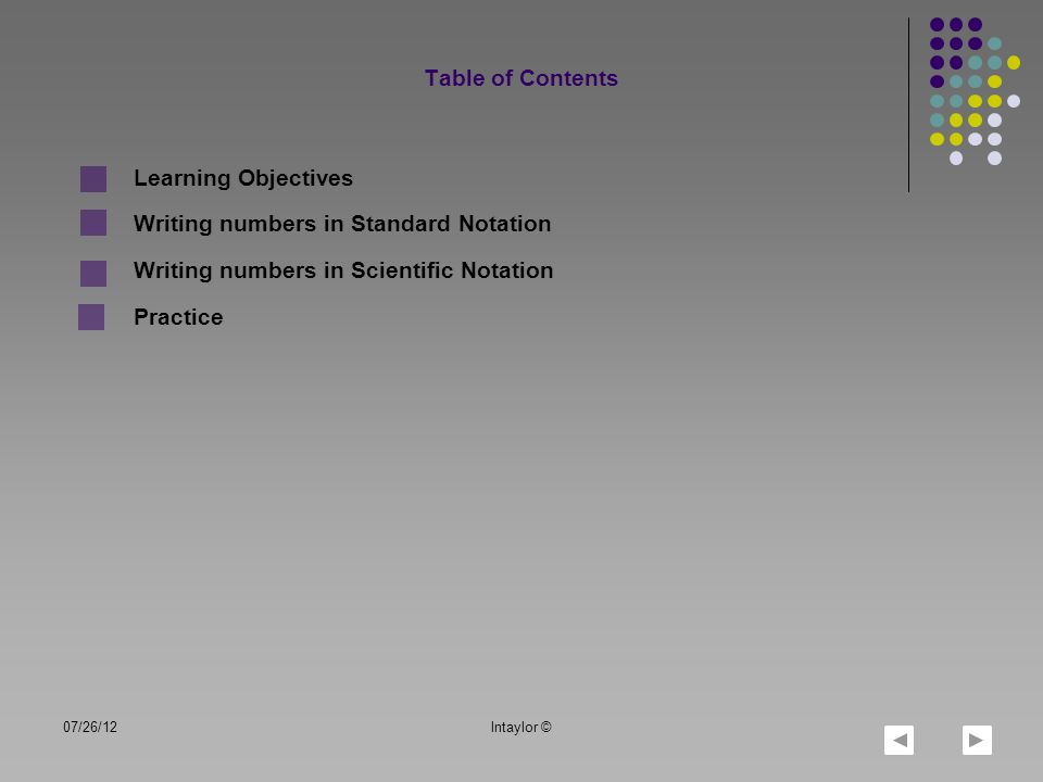 LO1: LO2: Define and differentiate standard and scientific notation Rewrite notations in different forms 07/26/12lntaylor © TOC Learning Objectives