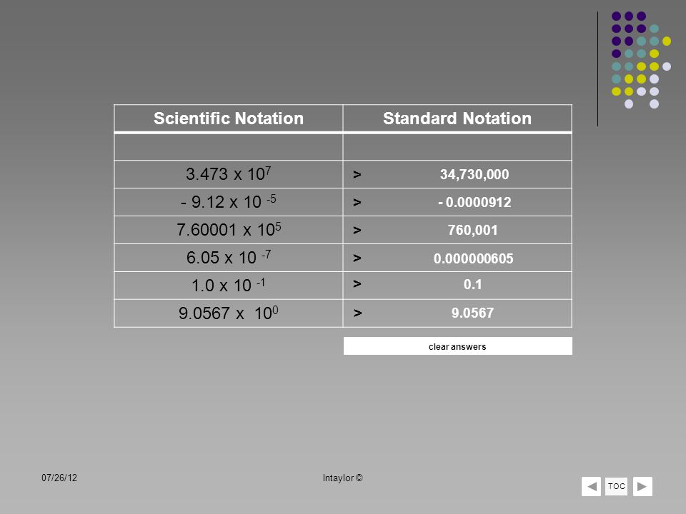 07/26/12lntaylor © TOC Scientific NotationStandard Notation 3.473 x 10 7 - 9.12 x 10 -5 7.60001 x 10 5 6.05 x 10 -7 1.0 x 10 -1 9.0567 x 10 0 > > > >