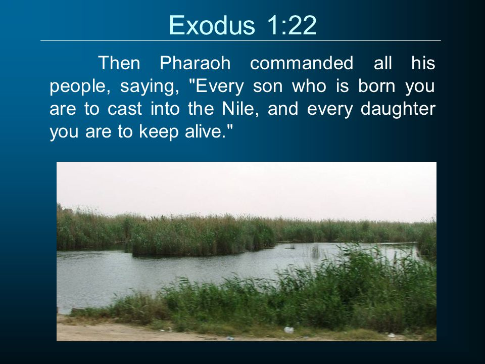Exodus 1:22 Then Pharaoh commanded all his people, saying, Every son who is born you are to cast into the Nile, and every daughter you are to keep alive.